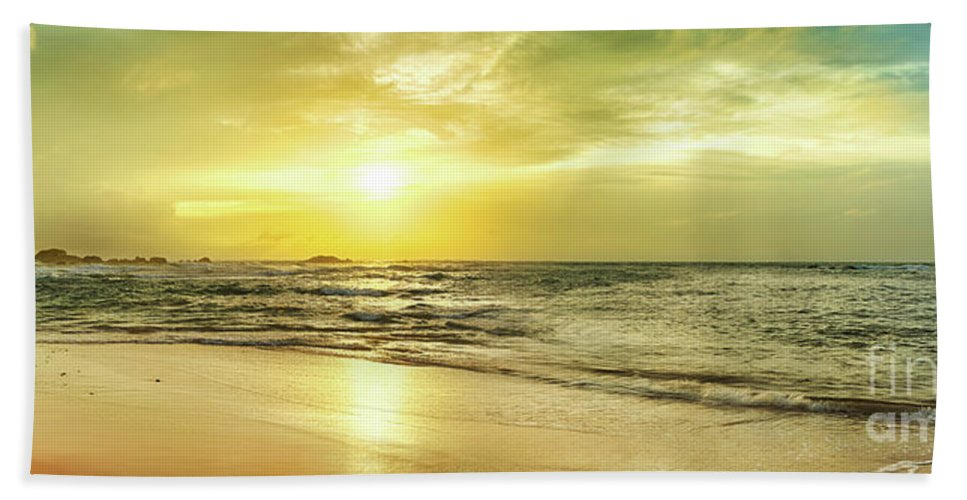 Panorama Bath Sheet featuring the photograph Sunset Over The Sea. Panorama by MotHaiBaPhoto Prints