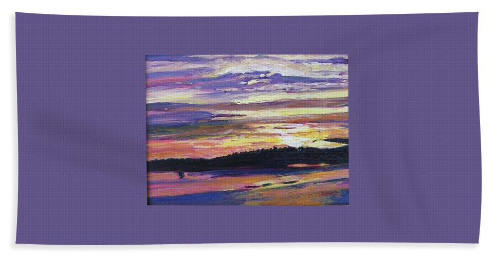 Sunset Hand Towel featuring the painting Sunset by Richard Nowak