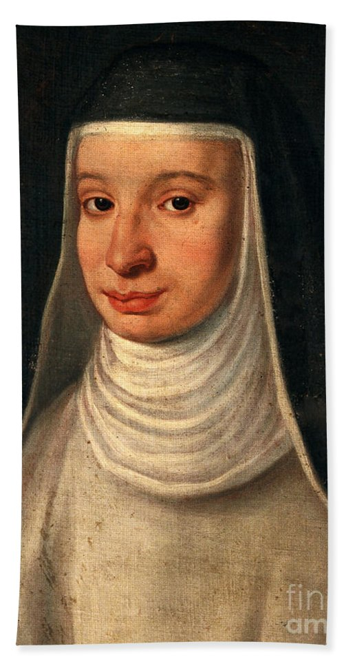 Nun Hand Towel featuring the photograph Suor Maria Celeste, Galileos Daughter by Wellcome Images
