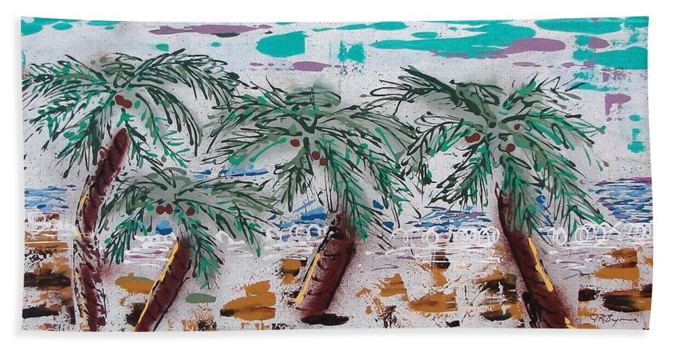 Palm Trees Hand Towel featuring the painting Surf N Palms by J R Seymour