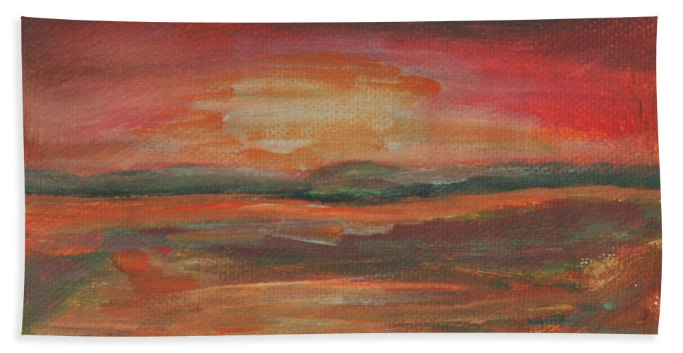 Swamp Gas Hand Towel featuring the painting Swamp Gas by Gail Daley