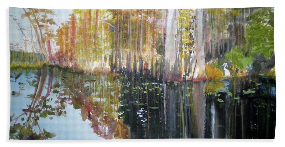Landscape Of A South Florida Swamp At Dusk Feels Very Wild Bath Towel featuring the painting Swamp Reflection by Hal Newhouser