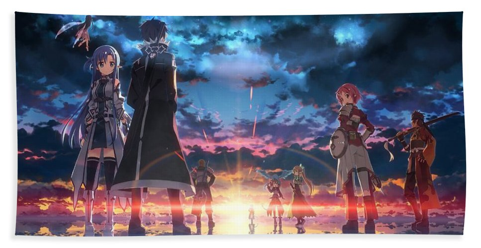 Sword Art Online Game Hand Towel featuring the digital art Sword Art Online Game by Anne Pool