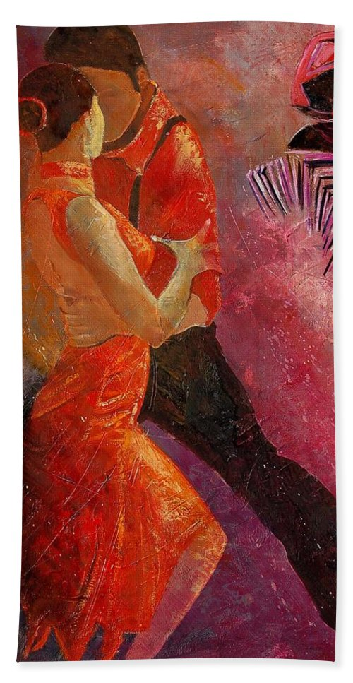 Tango Bath Sheet featuring the painting Tango by Pol Ledent