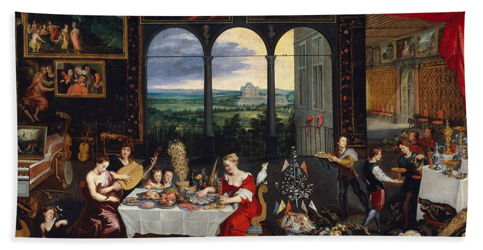 Arts Hand Towel featuring the painting Taste, Hearing And Touch by Jan Brueghel the Elder