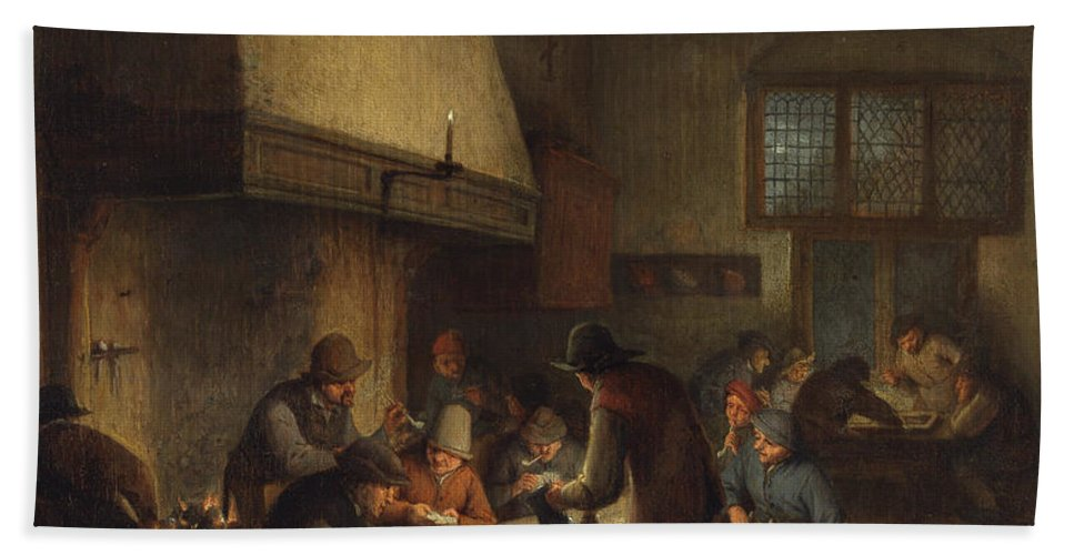 Adriaen Jansz Hendricx Hand Towel featuring the painting Tavern Scene by Adriaen van Ostade