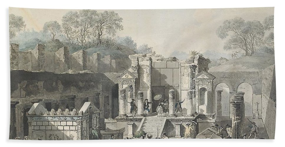 Louis Jean Desprez 1743-1804 Temple D'isis Vu De Face à Pompeja Bath Sheet featuring the painting Temple by Louis Jean