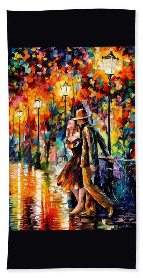 Afremov Hand Towel featuring the painting Tempter by Leonid Afremov