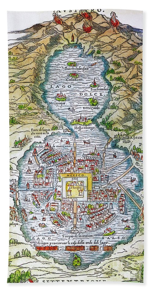 1556 Hand Towel featuring the photograph Tenochtitlan (mexico City) by Granger