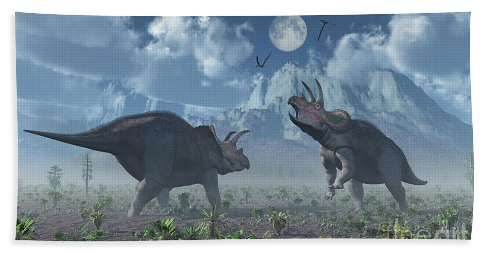 Horizontal Bath Sheet featuring the digital art Territorial Confrontation Between Two by Mark Stevenson