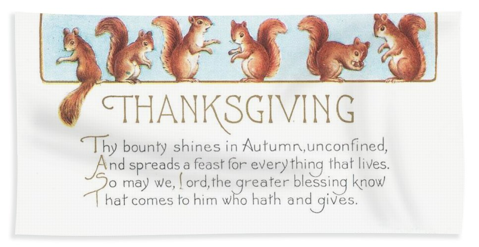Thanksgiving Bath Sheet featuring the painting Thanksgiving Card by American School
