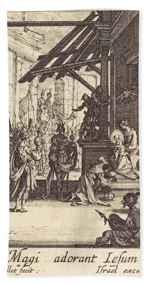 Hand Towel featuring the drawing The Adoration Of The Magi by Jacques Callot