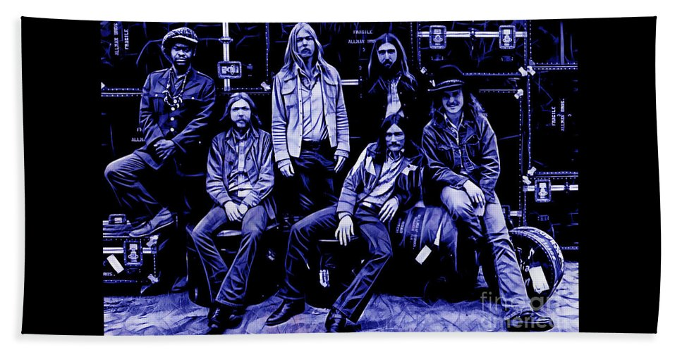 The Allman Brothers Hand Towel featuring the mixed media The Allman Brothers Collection by Marvin Blaine