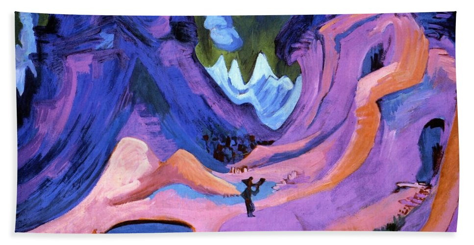 Country Hand Towel featuring the painting The Amselfluh by Ernst Ludwig Kirchner