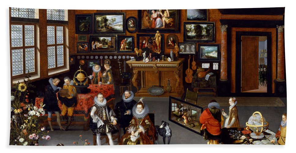 Animal Hand Towel featuring the painting The Archdukes Albert And Isabella Visiting A Collector's Cabinet by Jan Brueghel the Elder