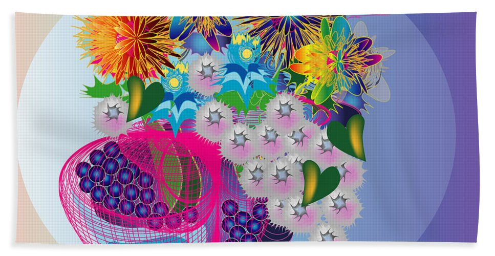 Flowers Bath Sheet featuring the digital art The Arrangement by George Pasini