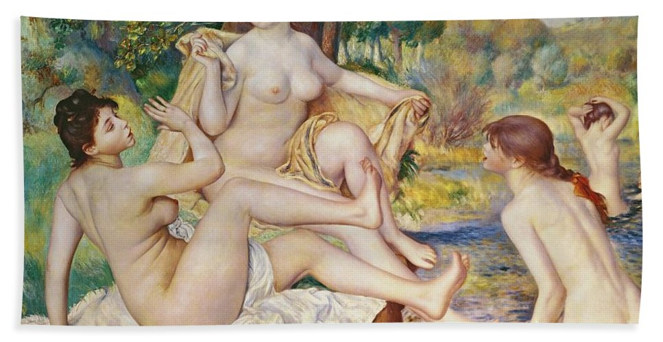 The Bath Towel featuring the painting The Bathers by Pierre Auguste Renoir