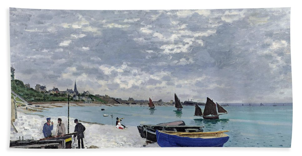 Coastal;french;rowing Boat;sailing;sainte Adresse; Boats Bath Towel featuring the painting The Beach at Sainte Adresse by Claude Monet