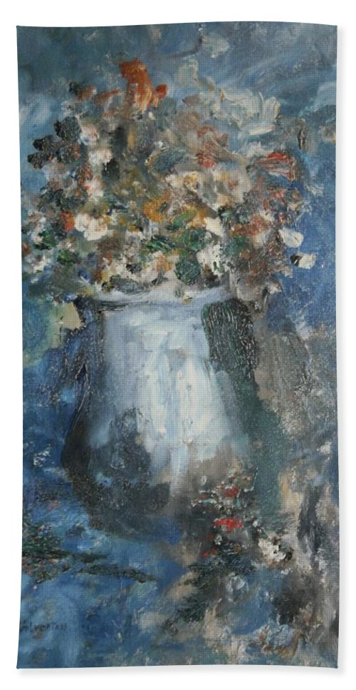 Still Life Bath Sheet featuring the painting The Blue Vase by Edward Wolverton
