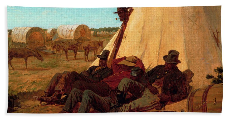 The Bright Side Hand Towel featuring the painting The Bright Side by Winslow Homer