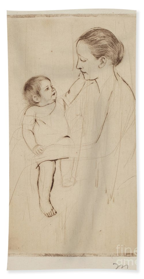 Hand Towel featuring the drawing The Caress by Mary Cassatt