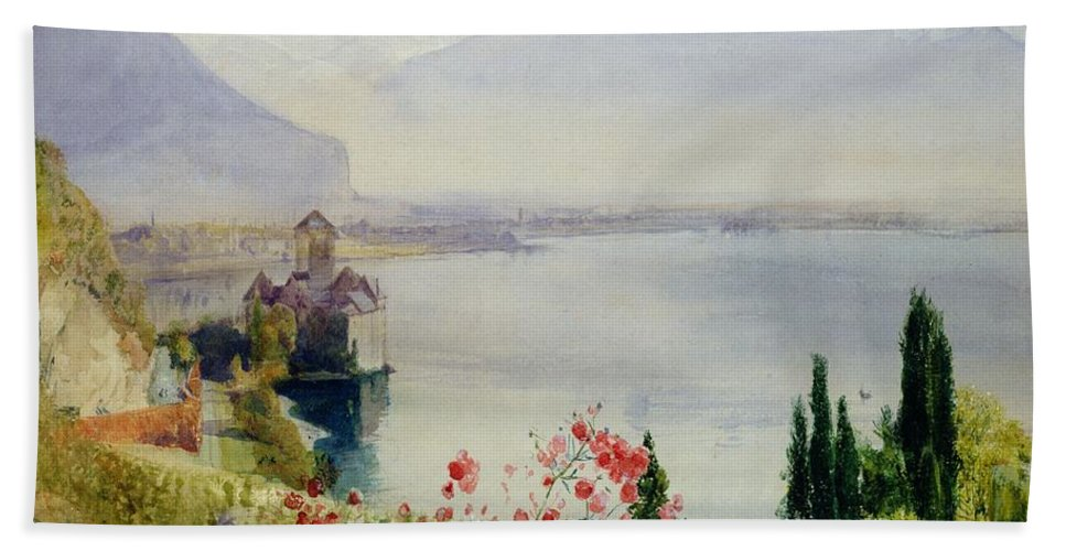 The Castle At Chillon Hand Towel featuring the painting The Castle At Chillon by John William Inchbold