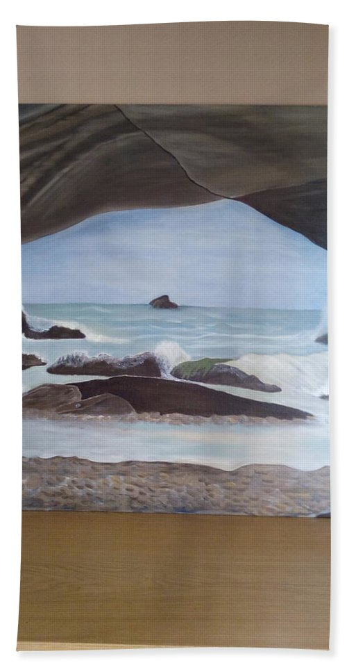 Seascape Bath Sheet featuring the painting The Cave by Marietjie Lambrechts