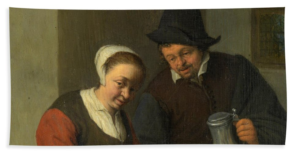 Adriaen Jansz Hendricx Hand Towel featuring the painting The Confidential Service by Adriaen van Ostade
