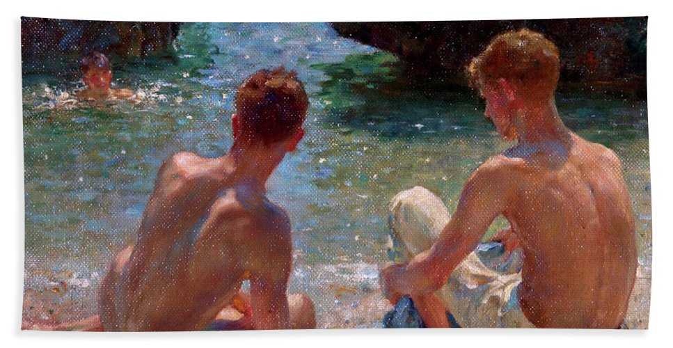 Nude Hand Towel featuring the painting The Critics by Henry Scott Tuke
