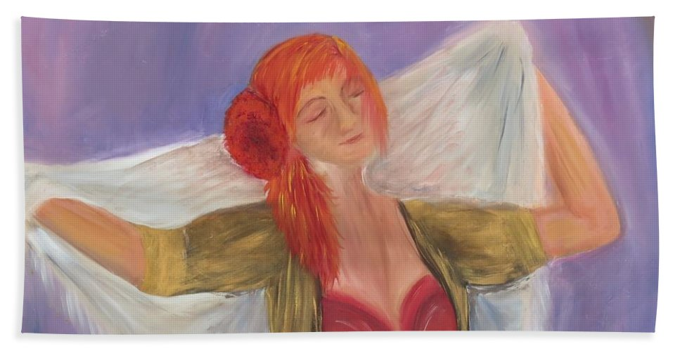 Dance Bath Towel featuring the painting The Dancer by Taly Bar