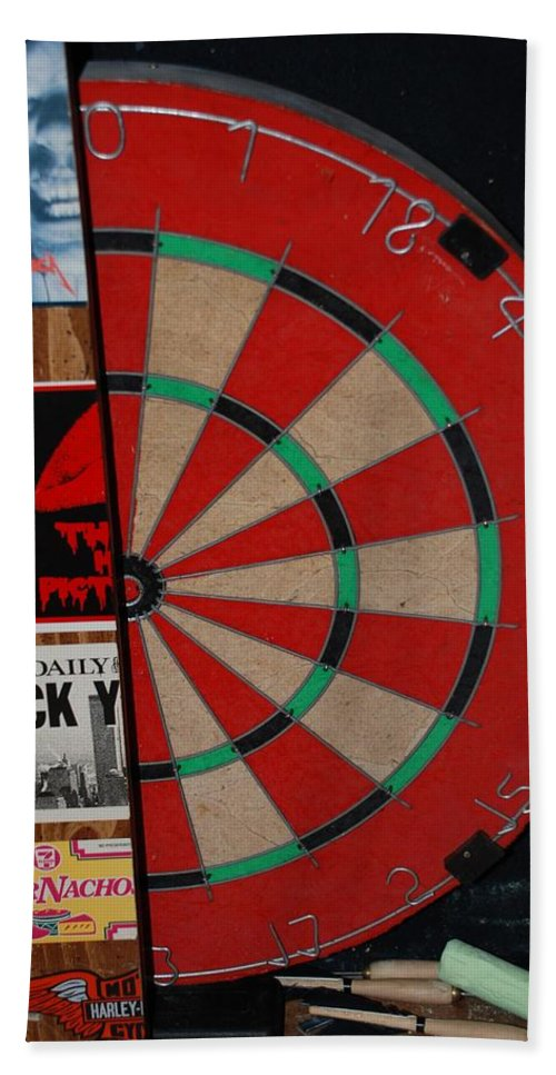 Macro Bath Towel featuring the photograph The Dart Board by Rob Hans