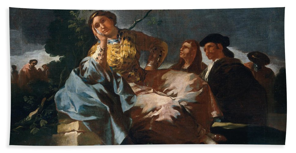 Europe Hand Towel featuring the painting The Date by Francisco Goya
