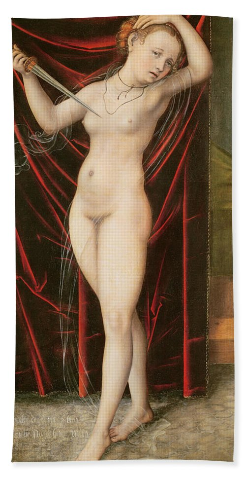 The Death Of Lucretia Hand Towel featuring the painting The Death Of Lucretia by Lucas the elder Cranach