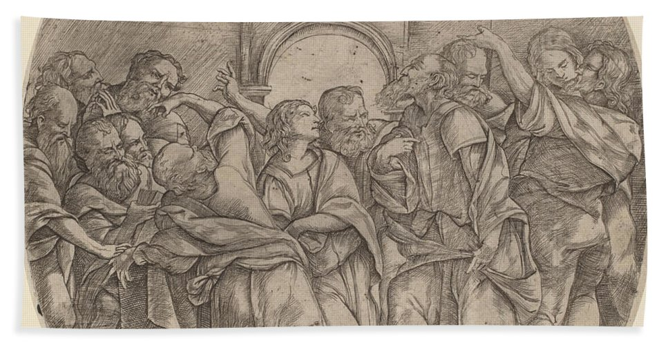 Hand Towel featuring the drawing The Descent Of The Holy Spirit by Domenico Campagnola