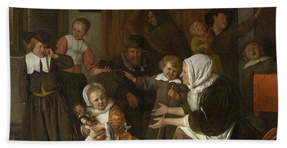 Baroque Bath Sheet featuring the painting The Feast Of St. Nicholas by Jan Steen