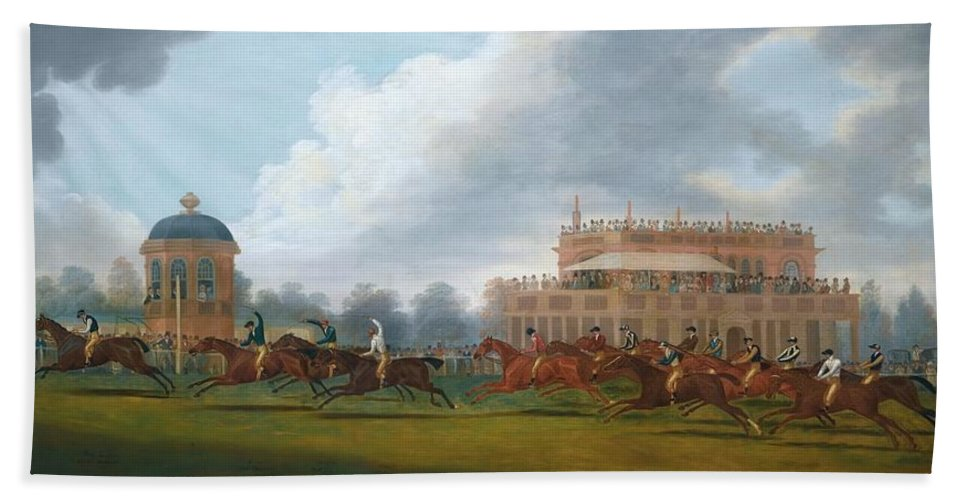 Clifton Tomson Nottingham 1775 - 1828 The Finish Of The St. Leger Stakes Bath Sheet featuring the painting The Finish Of The St. Leger Stakes by Clifton Tomson