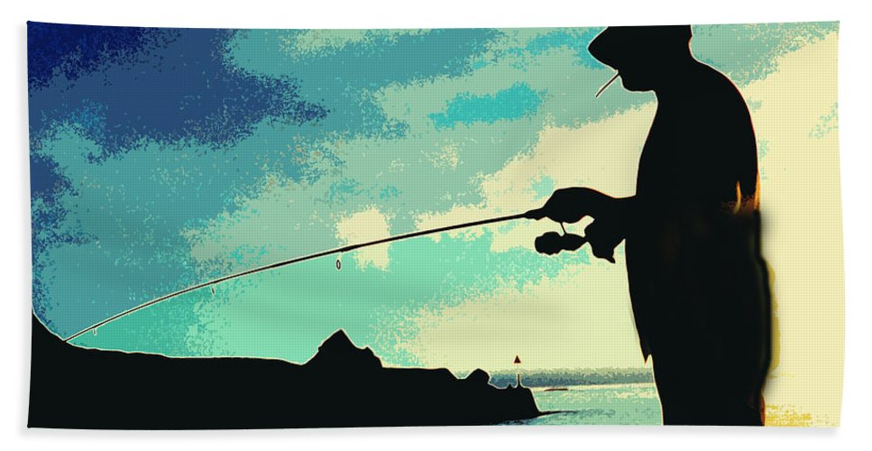 Man Fishing Hand Towel featuring the painting The Fisherman by Kate Hopson