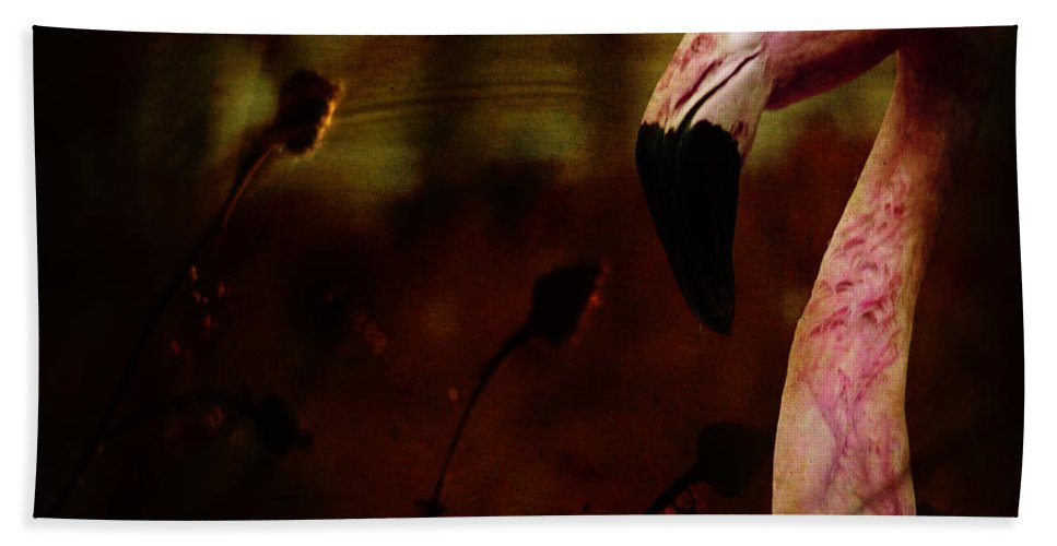 Flamingo Bath Towel featuring the photograph The Flamingo by Angel Tarantella