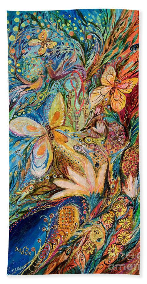 Original Bath Sheet featuring the painting The Flowers And The Fruits by Elena Kotliarker