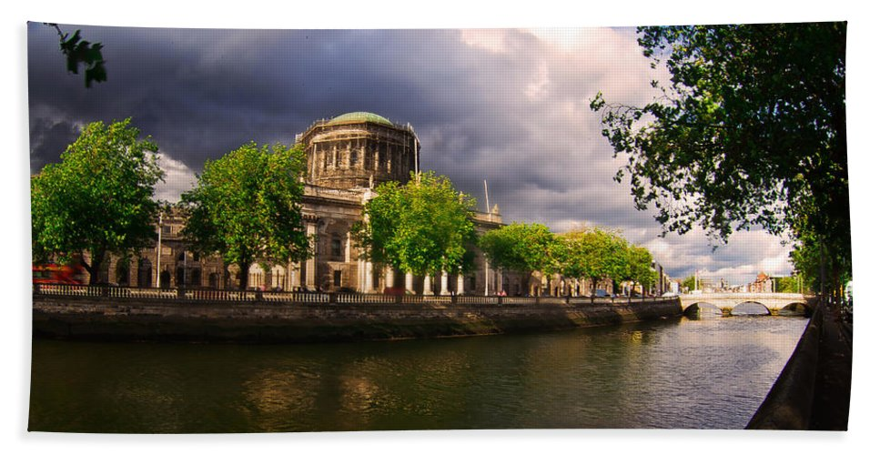 The Four Courts In Reconstruction Hand Towel featuring the photograph The Four Courts In Reconstruction 2 by Alex Art and Photo