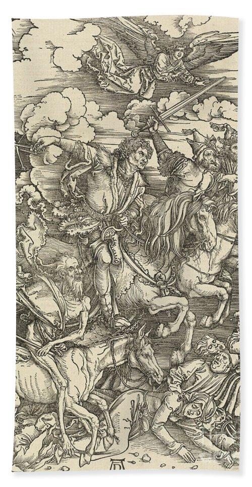 Hand Towel featuring the drawing The Four Horsemen by Albrecht D?rer