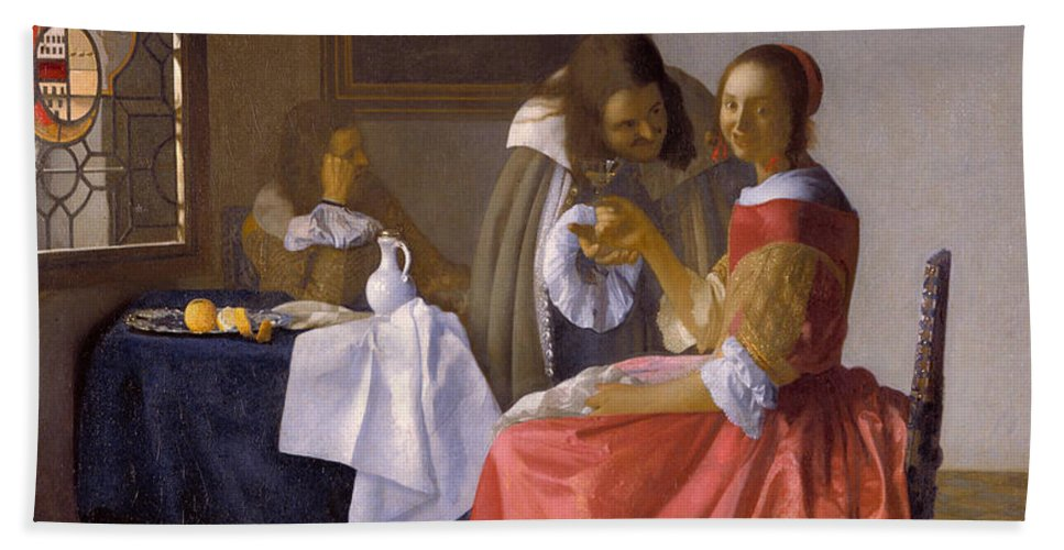 Baroque Hand Towel featuring the painting The Girl With A Wineglass by Johannes Vermeer
