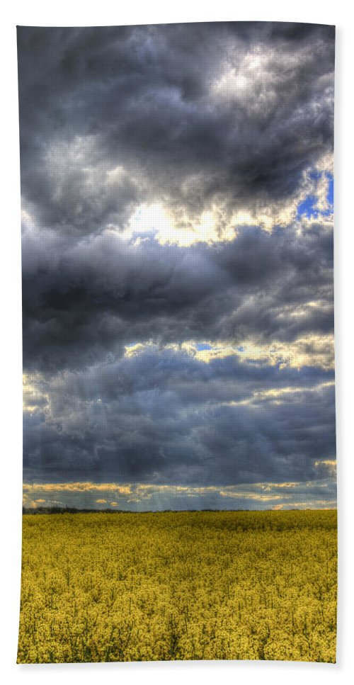 Oil Seed Rape Bath Sheet featuring the photograph The Impending Storm by David Pyatt