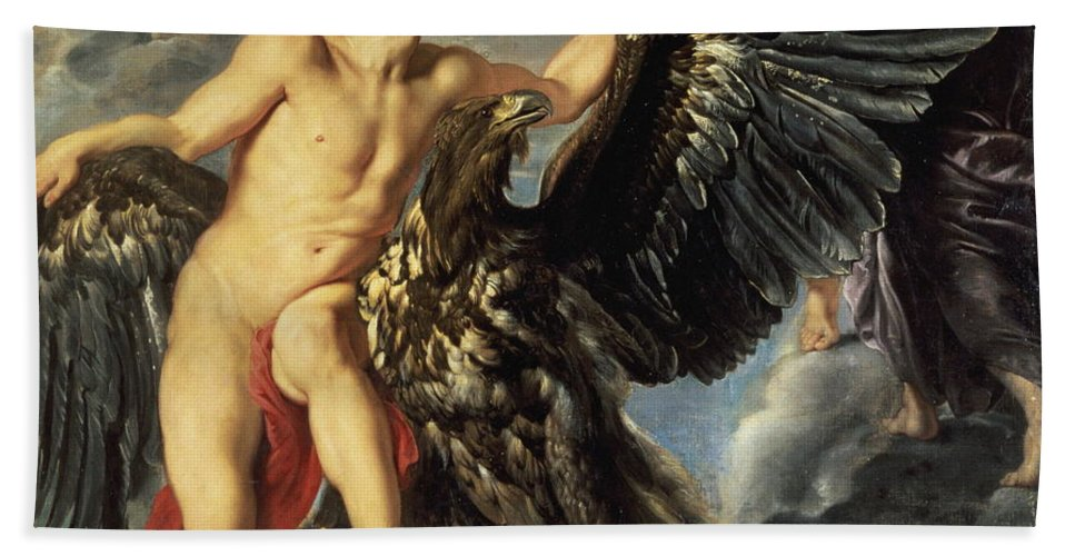 Ufo Bath Towel featuring the painting The Kidnapping Of Ganymede by Peter Paul Rubens