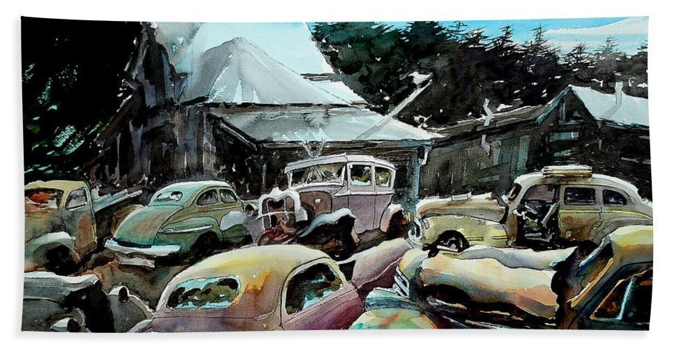 Cars Hand Towel featuring the painting The Last Stand by Ron Morrison