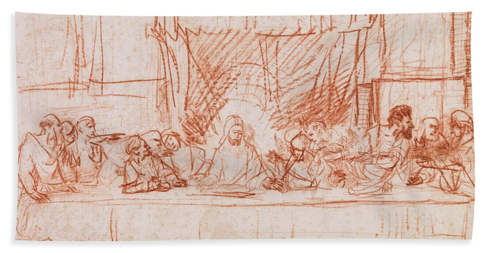 Rembrandt Bath Towel featuring the drawing The Last Supper, After Leonardo Da Vinci by Rembrandt