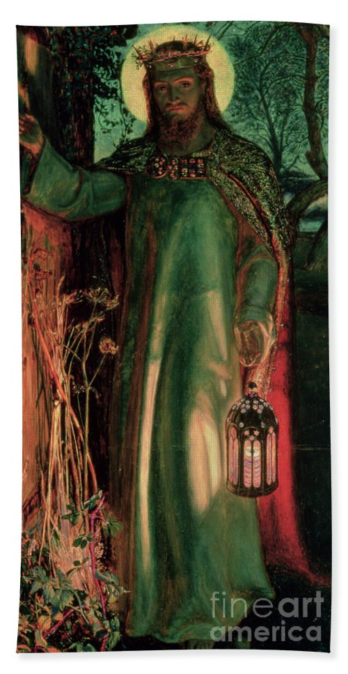 Jesus Hand Towel featuring the painting The Light Of The World by William Holman Hunt