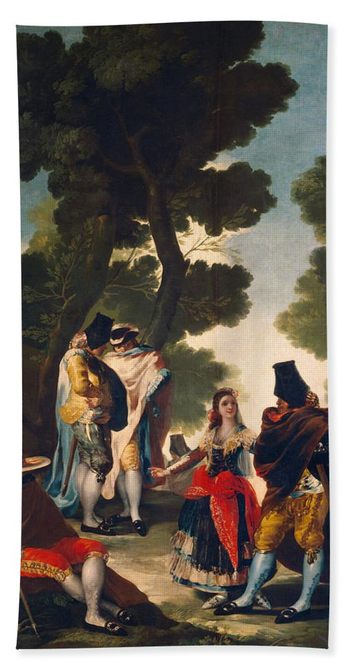 Europe Hand Towel featuring the painting The Maja And The Cloaked Men, Or A Walk Through Andalusia by Francisco Goya