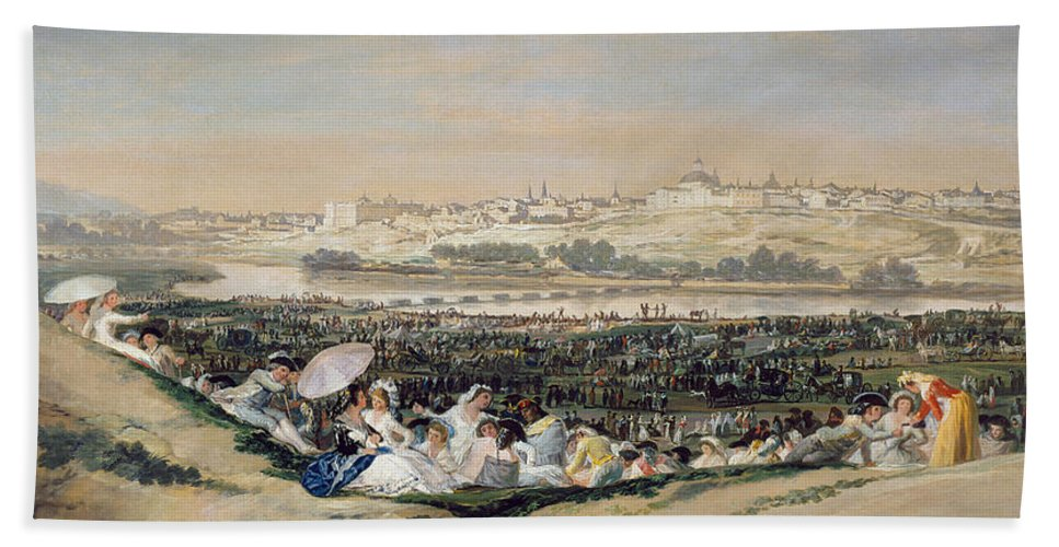 Cityscape Hand Towel featuring the painting The Meadow Of San Isidro by Francisco Goya