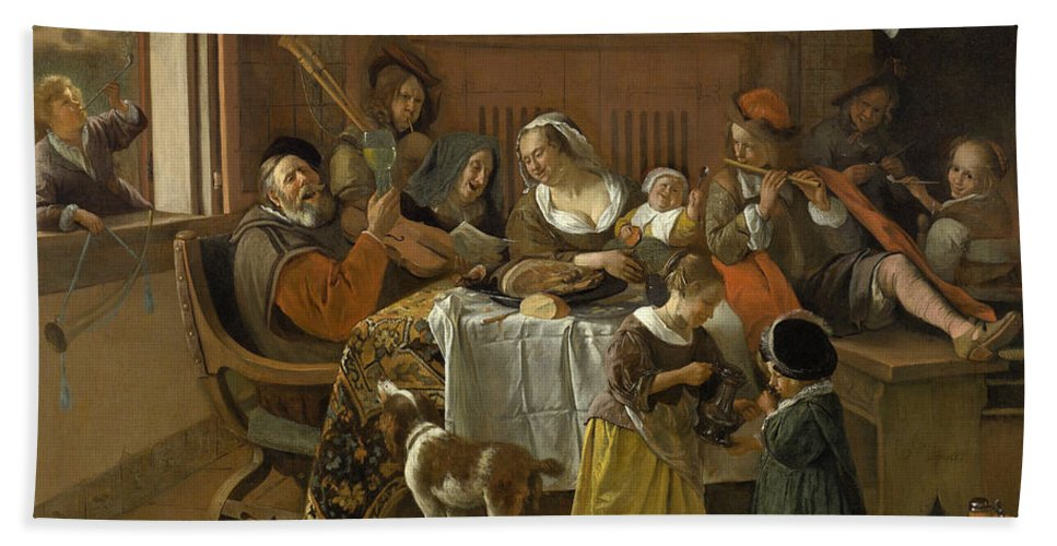 Animal Hand Towel featuring the painting The Merry Family by Jan Steen
